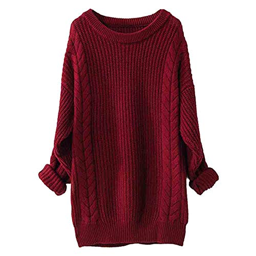 Sweater for Womens, FORUU Christmas Thanksgiving Friday Monday Under 10 Women's Winter Large Round Neck Long Sleeve Hemp Pullover Knit