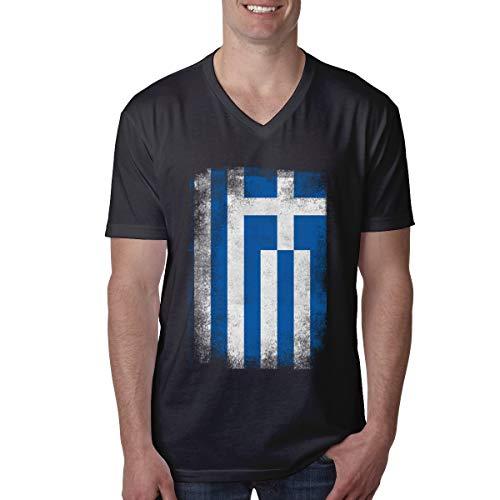 (Vintage Greek Flag Men's V-Neck Short Sleeve T-Shirts Black)