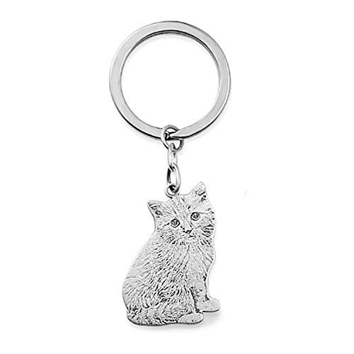 Personalized Picture Keychain Custom Pet Cat Dog 925 Silver Photo Laser Engraved Pendant Keyring Gift for Pet Lover