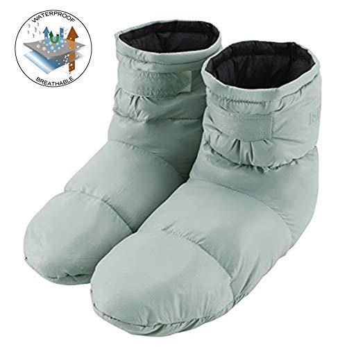 Avanigo Down Slippers Warm Socks Lightweight- for Women,Men,Kids Camping Hiking Sleep Socks Indoor Outdoor Packable Cozy Socks Include 100% Feather,Keep Warm 24-Hour Grey