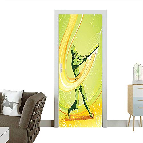 (Homesonne 3D Photo Door Murals Baseball Player Hits The Ball Batter Athlete Pitcher League Team Man Artsy Illustration Easy to Clean and applyW35.4 x H78.7 INCH)