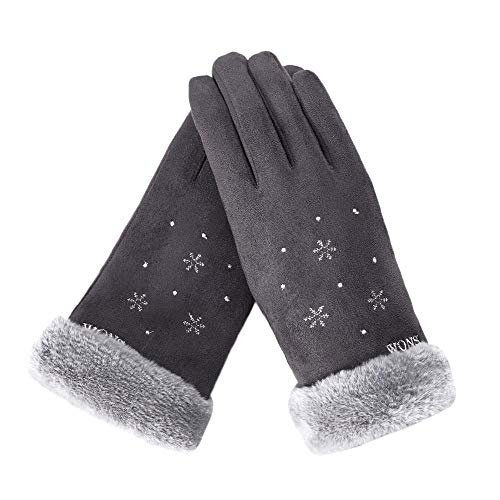 URIBAKE Women's Thermal Gloves Snowflake Screen Touch Fleece Lining Winter Outdoor Sport Mittens