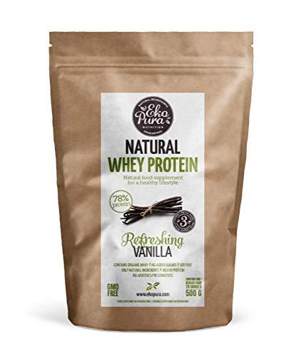 Natural Whey Protein – Refreshing Vanilla (Bio wei eiwitten) – 78% Eiwit, 500 gram, van Gras Gevoerde Koeien zonder…