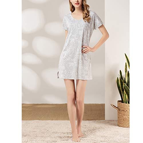 Plus Camicia Gray V Size Notte Abito Al A Blue Seno Donna color Con Infermieristica shirt Floreale Allentata S Allattamento Da Amabubblezing T Scollo fPw7Bqv7
