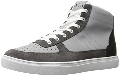 A|X Armani Exchange Men's Armani Exchange High Top Basket Fashion Sneaker, Dark Grey/Alloy, 9 M - Armani Online Usa