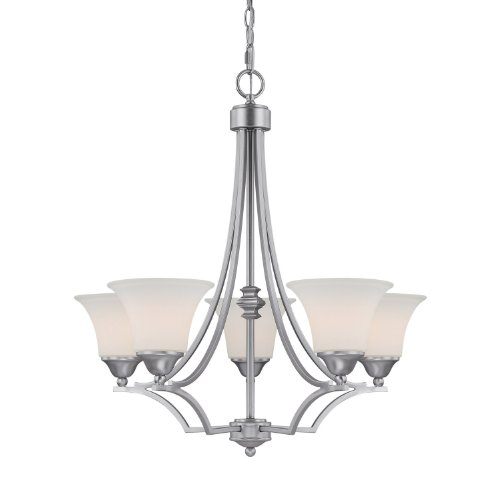 Cheap Capital Lighting 4025MN-114 Chandelier with Soft White Glass Shades, Matte Nickel Finish