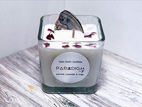 Gaia Earth Goddess 100% Soy Candle with Essential Oils and Abalone Shell from ParadigmBySG