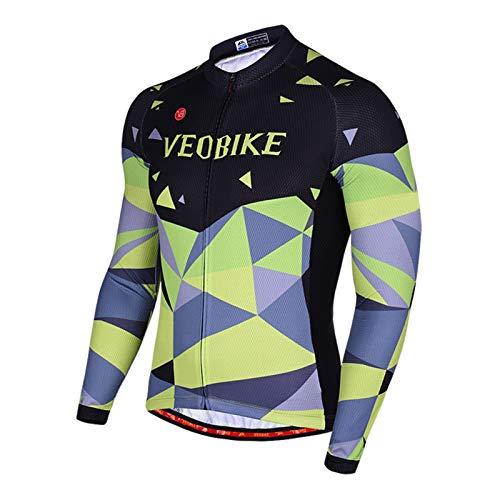 Epinki Hombre Otoño Invierno Ciclismo Camisa Verde para Al Aire Libre y Multi Deportes Equitación Camisas Tamaño M