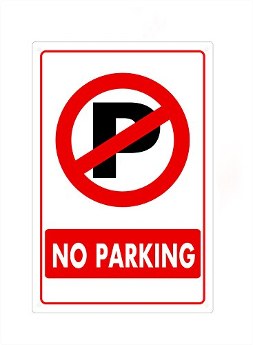 Parking Sign Red (VEIERSIA NO PARKING Sign, Red on White, 18