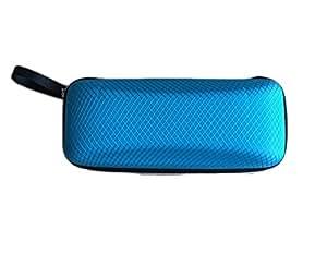 CAOLATOR Caja de almacenamiento de gafas de sol portátil de viaje,Caja anti-presión con cremallera (Azul)