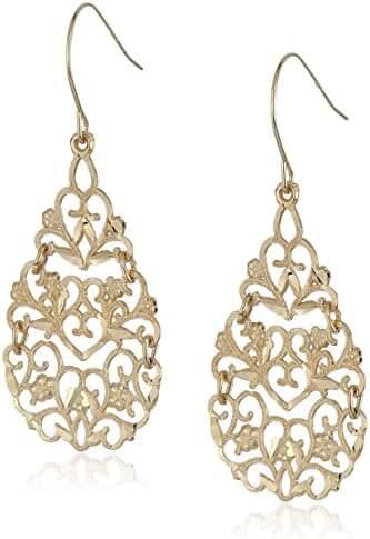 10k Yellow Gold Floral Pear Dangle Earrings