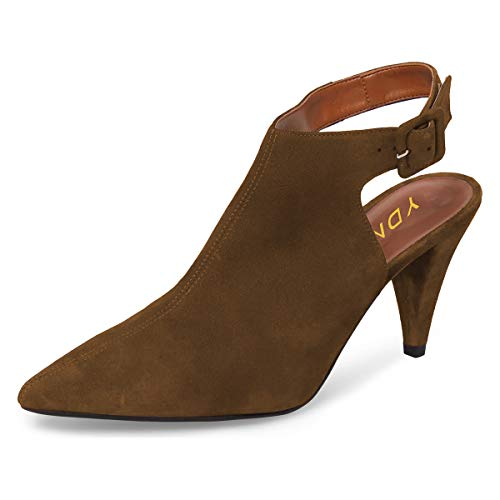 Cone Heel High - YDN Women Pointed Toe Cone High Heels Slingback Booties Ankle Strap Faux Suede Buckle Party Dress Sandals Brown 8.5