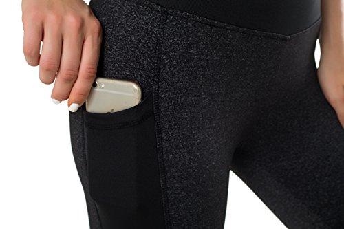 Sudawave Damen Mesh 3/4 Capri Yoga Hose Aktive Leggings mit Tasche für Laufen Fitness Gym Sport usw