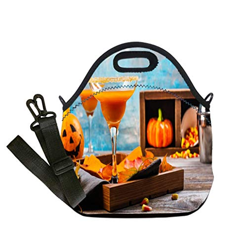Insulated Lunch Bag, Reusable Outdoor Travel Picnic School Autumn pumpkin margarita cocktail with halloween decor Multicolor,for Adults and children waterproof Lunch Box