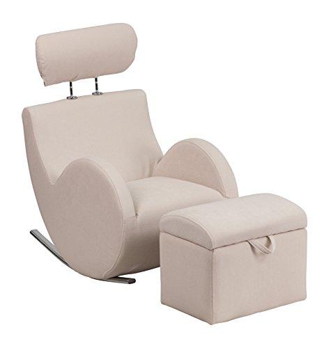 Flash Furniture LD-2025-BG-GG HERCULES Series Beige Fabric Rocking Chair with Storage Ottoman