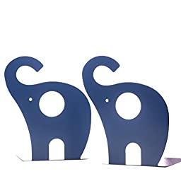 Creative Book Stand Modeling Style Children Bookshelf Bookends-Elephant (Navy)