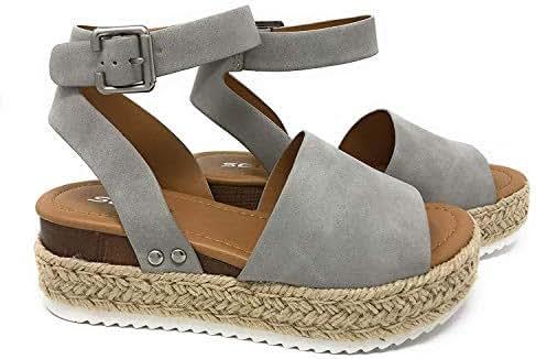 SODA Womens Casual Clip Espadrilles Trim Flatform Studded Wedge Buckle Ankle Strap Sandals