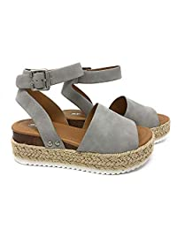 SODA Topic Grey Casual Espadrilles Trim Rubber Sole Flatform Studded Wedge Buckle Ankle Strap Open Toe (9)