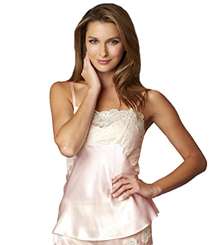 Neckline Petal (Julianna Rae Women's 100% Silk Camisole Top, Stretch Lace Overlay, Sweetheart Neckline, Petal, L)