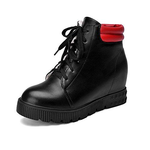 VogueZone009 Damen Schnüren Mittler Absatz PU Leder Gemischte Farbe Niedrig-Spitze Stiefel, Schwarz, 41