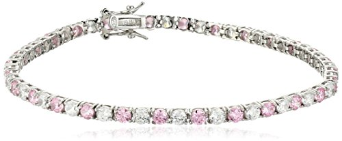 Sterling Silver Alternating Pink and White Prong Set AAA Cubic Zirconia Tennis Bracelet, 7.5