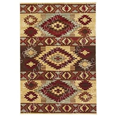 Rugs 4 Less Collection Southwest Native American Indian Area Rug Design Area Rug R4L 218-10 Beige Berber Burgundy (7'3 X10')