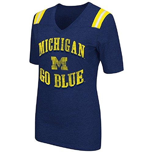 Colosseum Womens NCAA Artistic V-Neck T-Shirt-Michigan Wolverines-Navy-Small