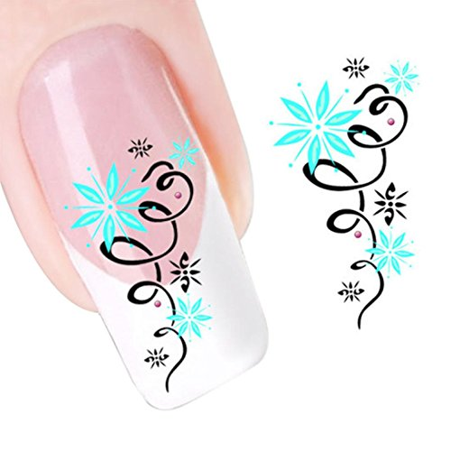 Nail Art Sticker,Putars Green Star Flowers Design Nail Tip Art Water Transfers Decal Sticker
