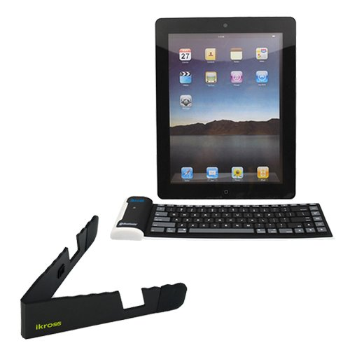 iKross Portable Folding Mini Stand, iKross Bluetooth Wireless Foldable Silicone Keyboard-Black