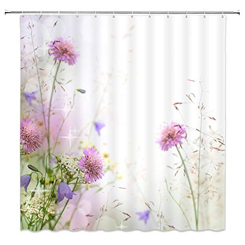 AMNYSF Pink Light Purple Flower Shower Curtain Wild Flowers Spring Plants Floral Scenery Decor White Fabric Bathroom Curtains,70x70 Inch Waterproof Polyester with -