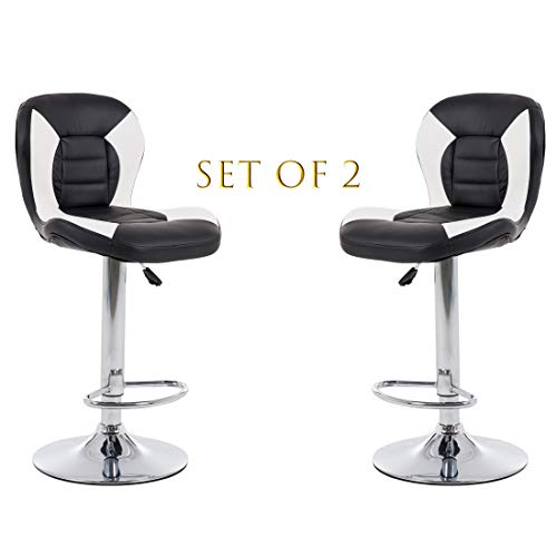 THKSBOUGHT Set of 2 Modern Bar Stools PU Leather Adjustable Counter Height Swivel Stool (Black)