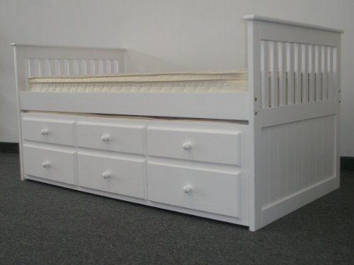 amazoncom bedz king captains twin bed with twin trundle and 3 drawers in white kitchen u0026 dining