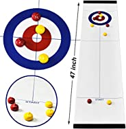 Tabletop Compact Curling Game and Family Shuffleboard Pucks with 8 Rollers for Kids and Adults