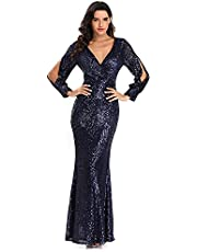 VERONNI Womens Formal Dresses,Black Prom Dresses Long Sleeve Bridesmaid Wedding Pageant V-Neck Gowns and Evening Dress