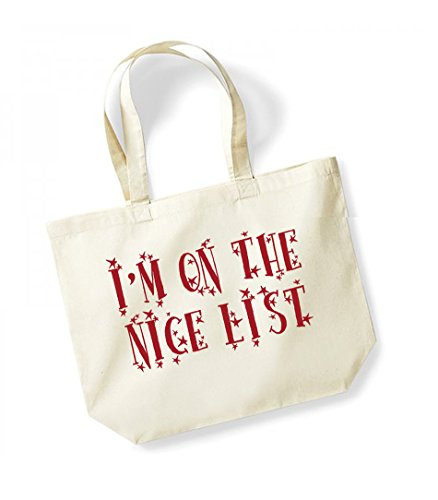 Nice Cotton Canvas Kelham Slogan Print The List On Bag Tote Unisex I'm red Natural twIRAqv
