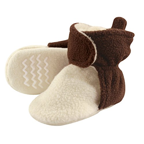 Hudson Baby Baby Cozy Fleece Booties with Non Skid Bottom, Brown/Cream, 0-6 Months