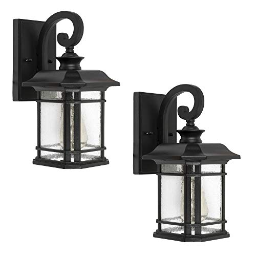 Emliviar Outdoor Wall Lanterns 2 Pack, 1-Light Exterior Wall Mount Light, Black Finish with Clear Seedy Glass, 2084B-2 (Black Large Wall Lantern)