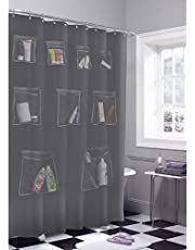 Maytex Mesh Pockets PEVA Shower Curtain/Liner and Bath Organizer, Grey