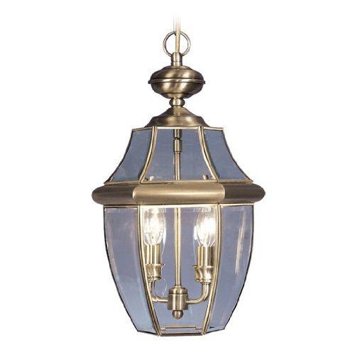 Livex Lighting 2255-01 Monterey 2 Light Outdoor Antique Brass Finish Solid Brass Hanging Lantern with Clear Beveled Glass by Livex (Monterey Hanging Lantern)