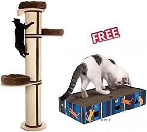 Natural Paradise - Poste rascador XXL 219 x 45 cm, con cómodas Camas en Madera Maciza con Poste Cubierto de sisal para Gatos Grandes y Pesados: Amazon.es: Productos para mascotas