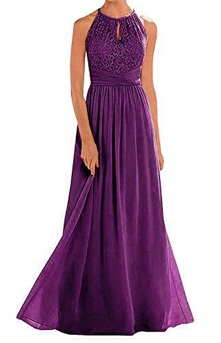 (Annadress Women's Halter Lace A-Line Chiffon Floor-Length Bridesmaid Dress Dark Purple)