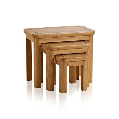 Oak Furniture Land Wiltshire Natural Solid Oak Nest of 3 Tables