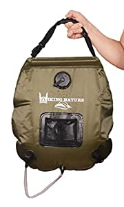 NV Solar Camping Shower Bag with Removable Hose and On-Off Switch Head, 5-Gallon, Green upgraded