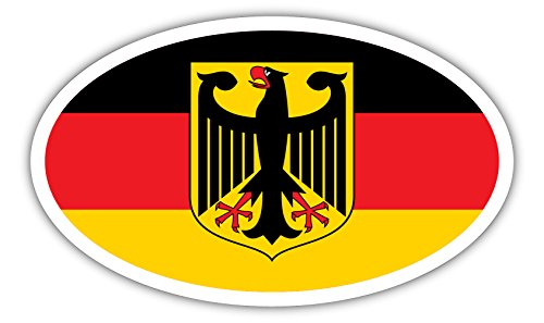 Germany Coat of Arms German Flag Deutschland Euro Bumper Sticker Decal 3x5 inches