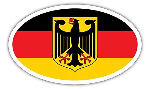 Deutschland Coat (Germany Coat of Arms German Flag Deutschland Euro Bumper Sticker Decal 3x5 inches)