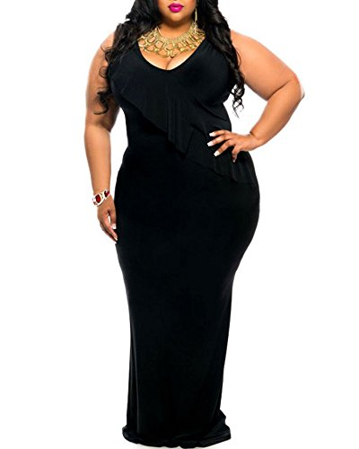 [Lalagen Women's Ruched V Neck Plus Size Bodycon Long Evening Party Maxi Dress black XXL] (Plus Size Evening Wear)