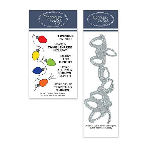 String of Lights Clear Stamps & Die Bundle | Photopolymer Stamps | Clear Rubber Stamps | Matching Metal Dies | Die Cuts | Craft Dies | Cutting Dies ()