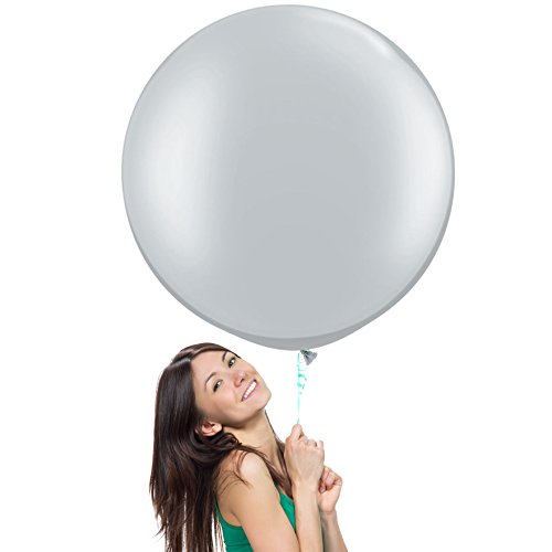 Grey Latex Balloons (36 Inch (3 ft) Giant Jumbo Latex Balloons (Premium Helium Quality), Pack of 6, Round Shape - Metallic Silver, for Photo Shoot/Birthday/Wedding)