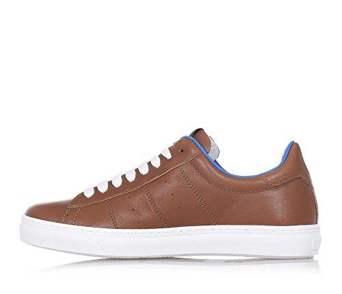 CIAO BIMBI - Chaussure à lacets marron en cuir avec ourlet supérieur bleu, soignée dans tous ses détails et capable de combiner style, garçon, garçons