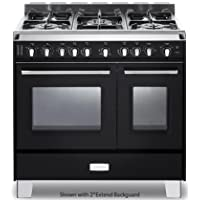 Verona VCLFSGG365DE 36 Classic Gas Range with 2.4 cu. ft. & 1.5 cu. ft. Convection Ovens 5 Sealed Gas Burners Cast-Iron Grates EZ Clean Porcelain Oven Surface and Full-Width Storage Comp